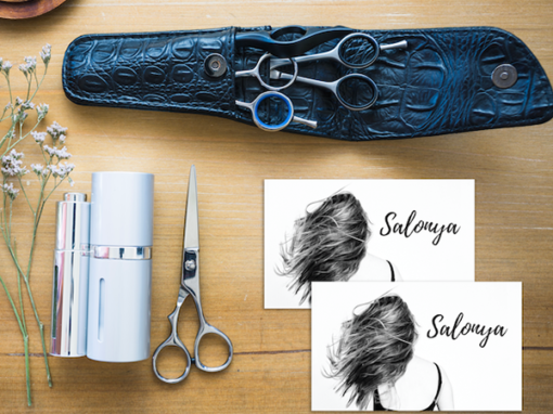 Salonya logo and business card